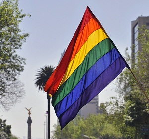 A youngster waves a rainbow flag during